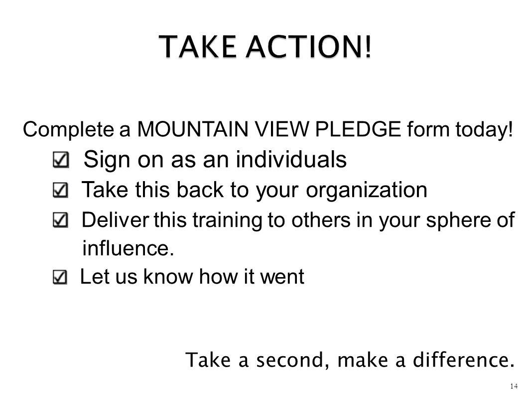 TAKE ACTION! Sign on as an individuals