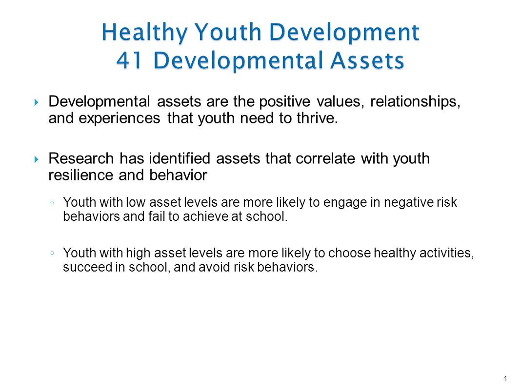 Healthy Youth Development 41 Developmental Assets