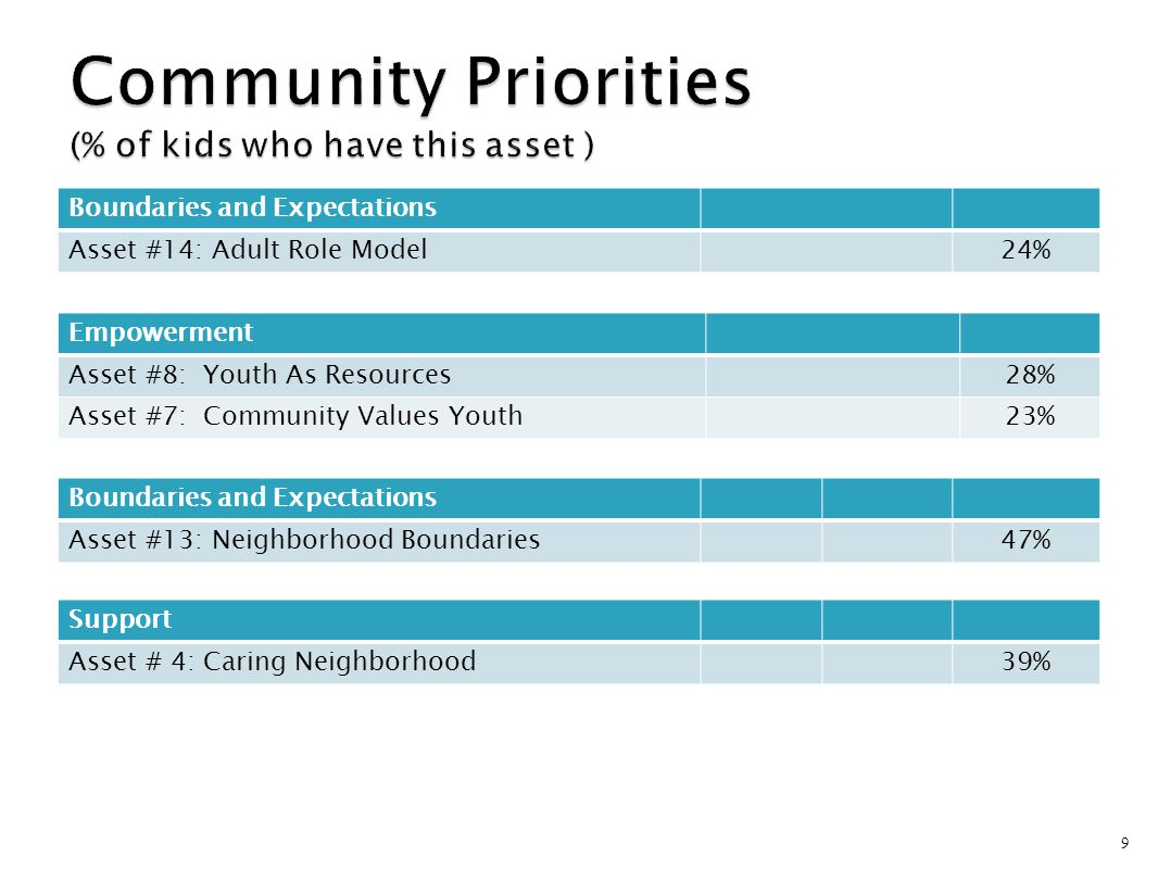 Community Priorities (% of kids who have this asset )