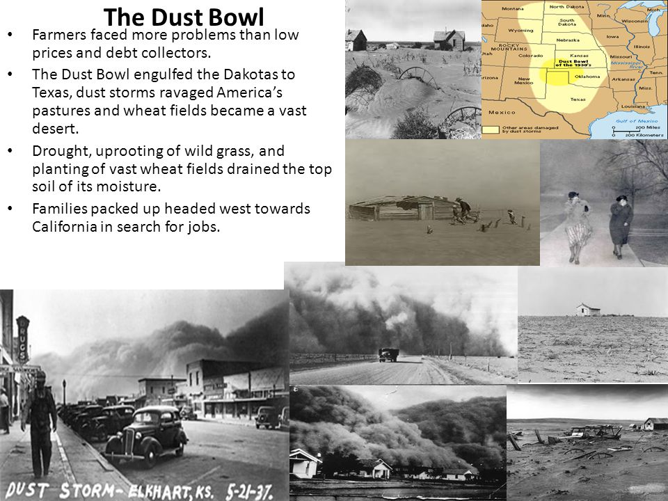 The Dust Bowl Farmers faced more problems than low prices and debt collectors.