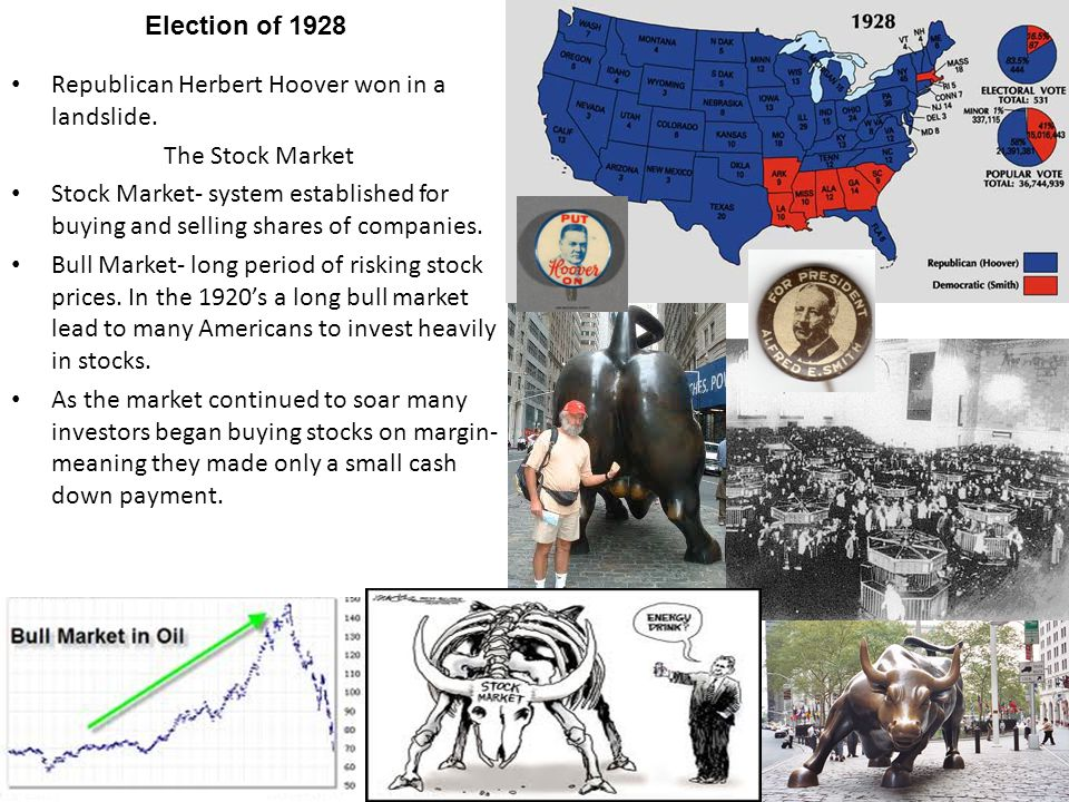 Election of 1928 Republican Herbert Hoover won in a landslide. The Stock Market.