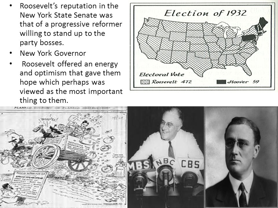 Roosevelt's reputation in the New York State Senate was that of a progressive reformer willing to stand up to the party bosses.