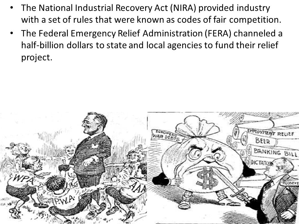 The National Industrial Recovery Act (NIRA) provided industry with a set of rules that were known as codes of fair competition.