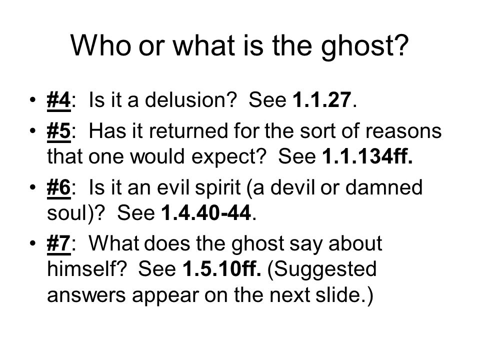 Who or what is the ghost #4: Is it a delusion See 1.1.27.