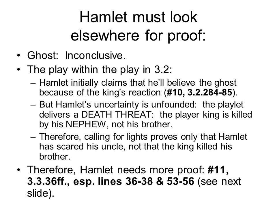 Hamlet must look elsewhere for proof: