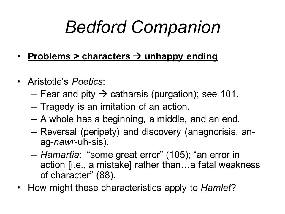 Bedford Companion Problems > characters  unhappy ending