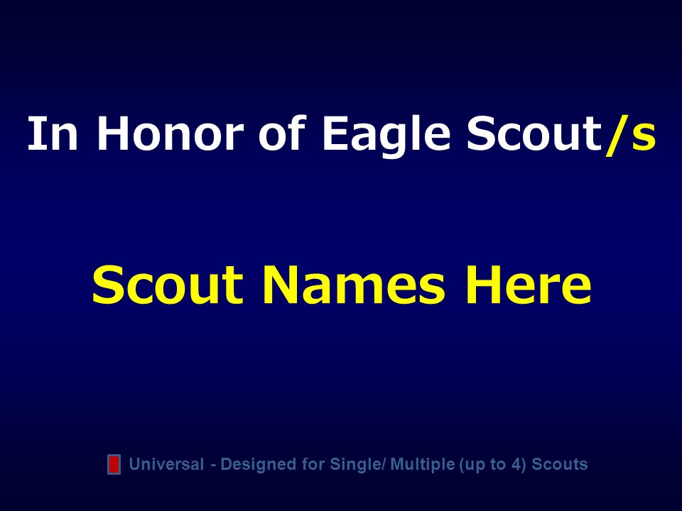 Scout Names Here In Honor of Eagle Scout/s