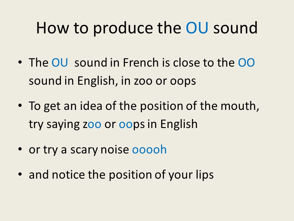 How to produce the OU sound