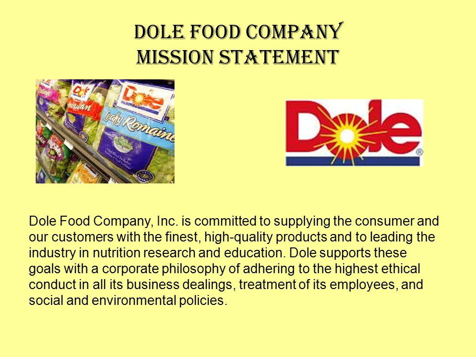 Dole Food Company Mission Statement