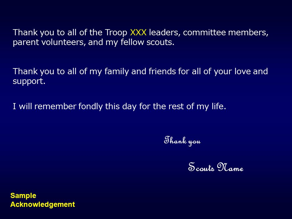 Thank you to all of the Troop XXX leaders, committee members, parent volunteers, and my fellow scouts.