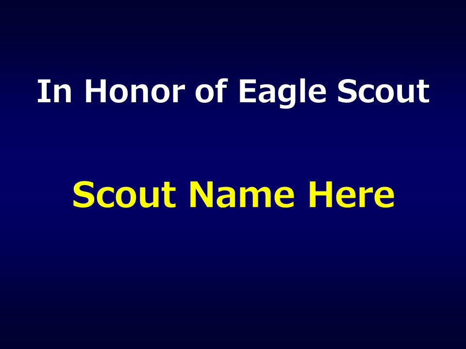 In Honor of Eagle Scout Scout Name Here
