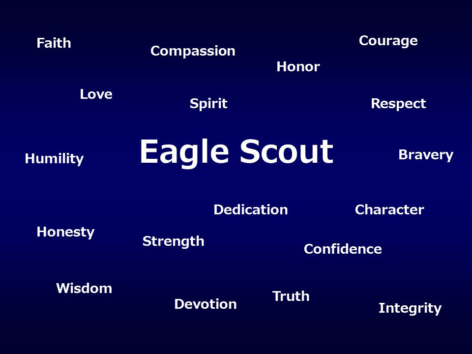 Eagle Scout Faith Courage Compassion Honor Love Spirit Respect Bravery