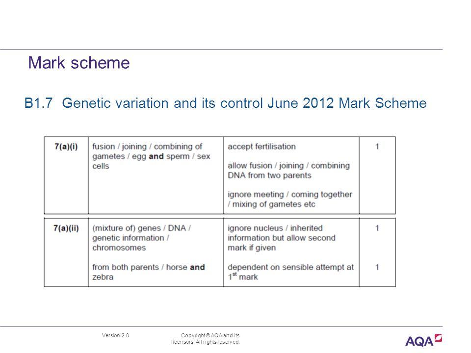 Mark scheme B1.7 Genetic variation and its control June 2012 Mark Scheme.