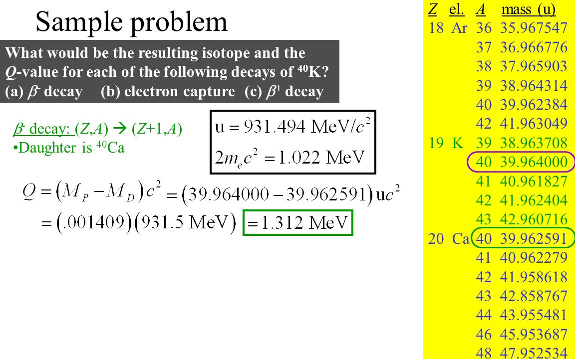 Sample problem Z el. A mass (u) 18 Ar 36 35.967547 37 36.966776