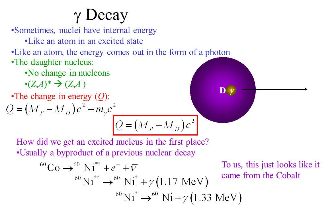  Decay Sometimes, nuclei have internal energy