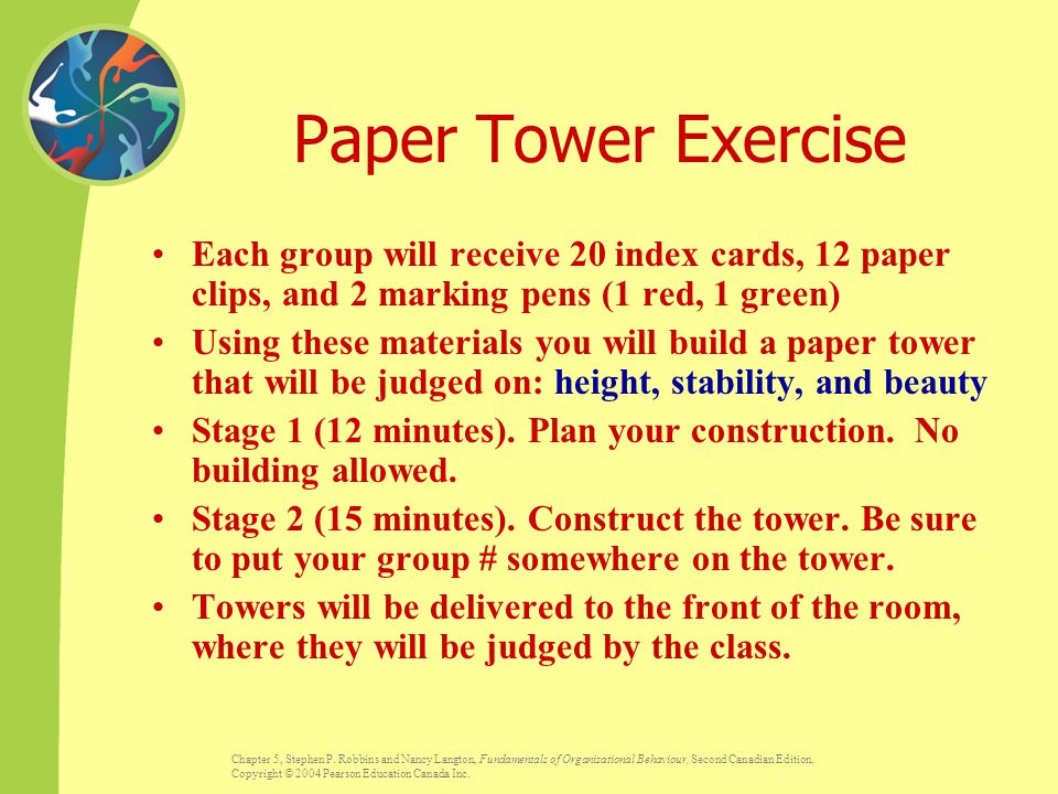 Paper Tower Exercise Each group will receive 20 index cards, 12 paper clips, and 2 marking pens (1 red, 1 green)