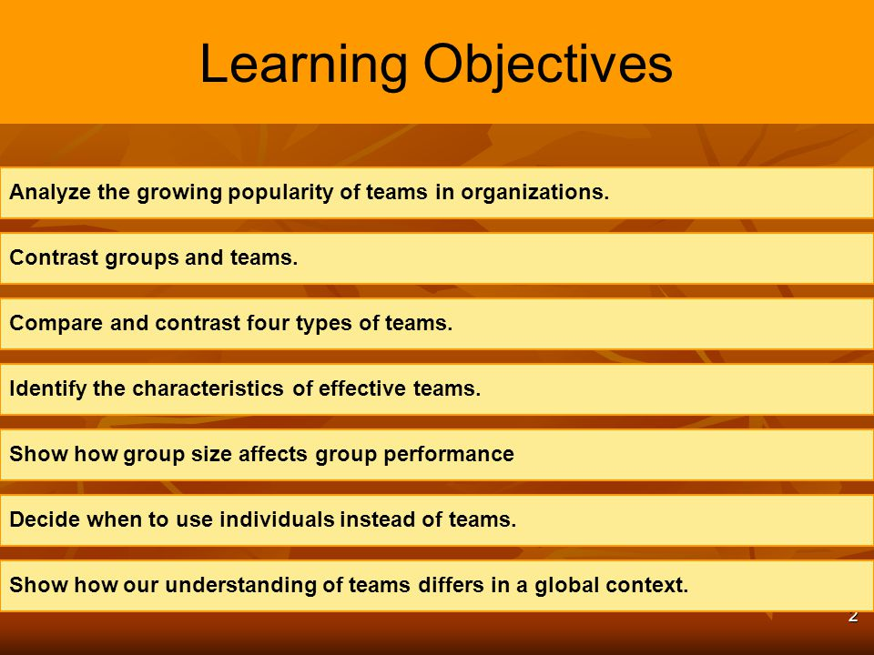 Learning Objectives Analyze the growing popularity of teams in organizations. Contrast groups and teams.