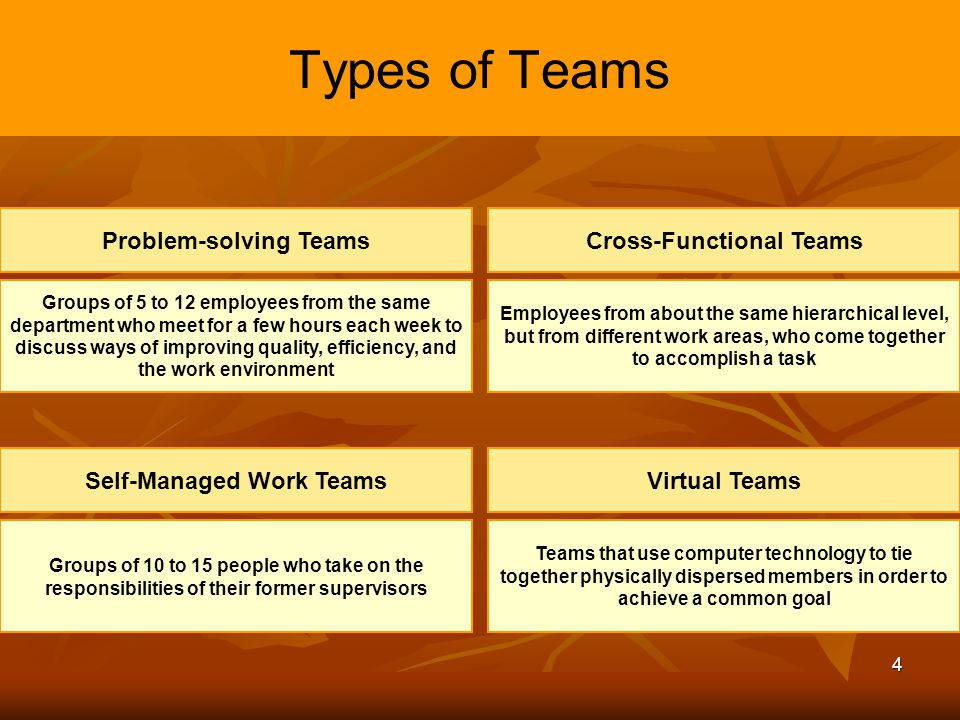 Problem-solving Teams Cross-Functional Teams Self-Managed Work Teams