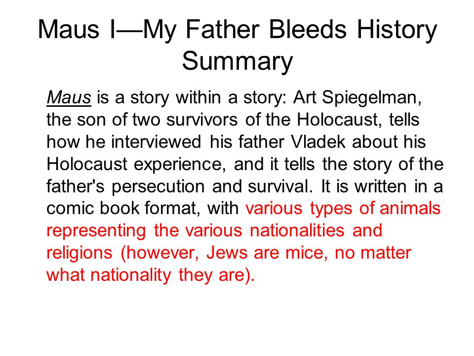 Maus I—My Father Bleeds History Summary