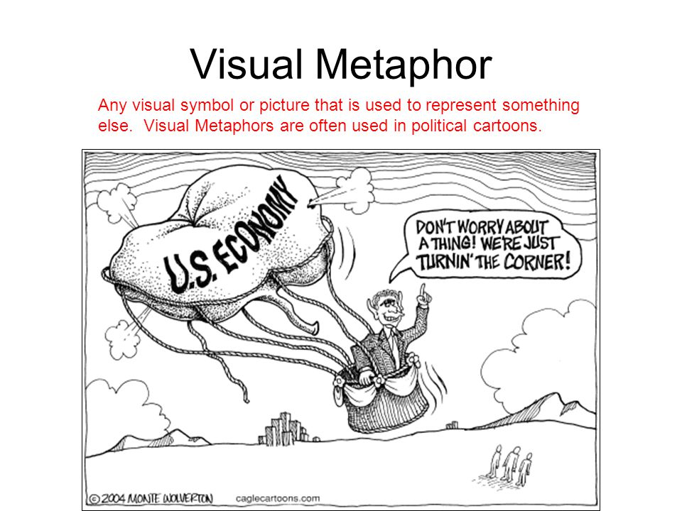 Visual Metaphor Any visual symbol or picture that is used to represent something else.