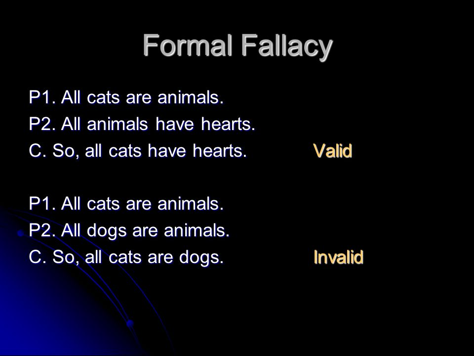 Formal Fallacy P1. All cats are animals. P2. All animals have hearts.