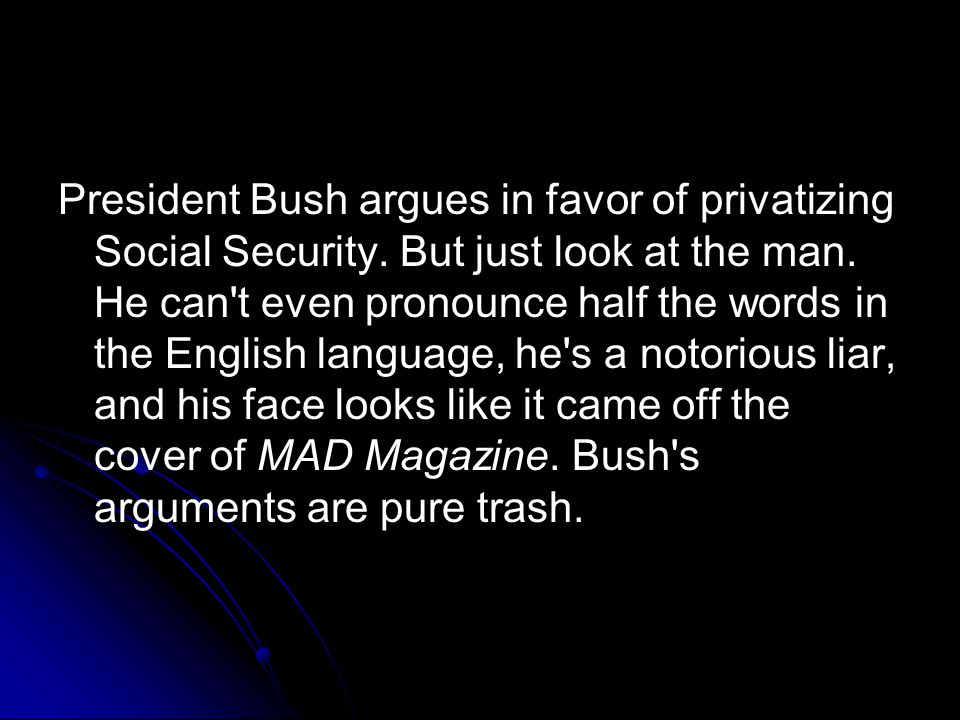 President Bush argues in favor of privatizing Social Security