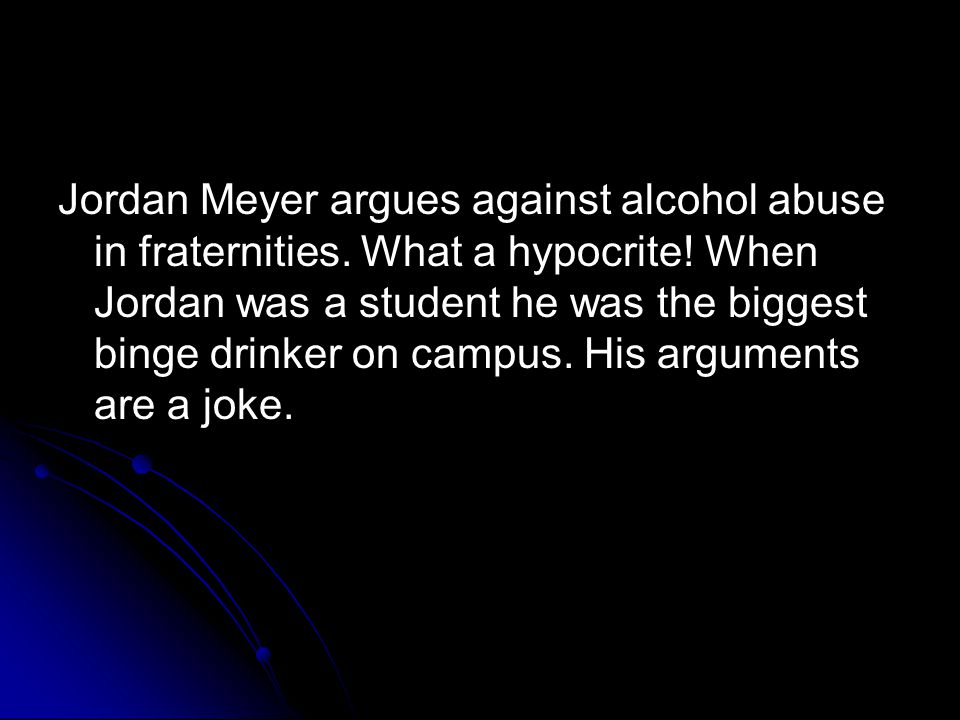 Jordan Meyer argues against alcohol abuse in fraternities