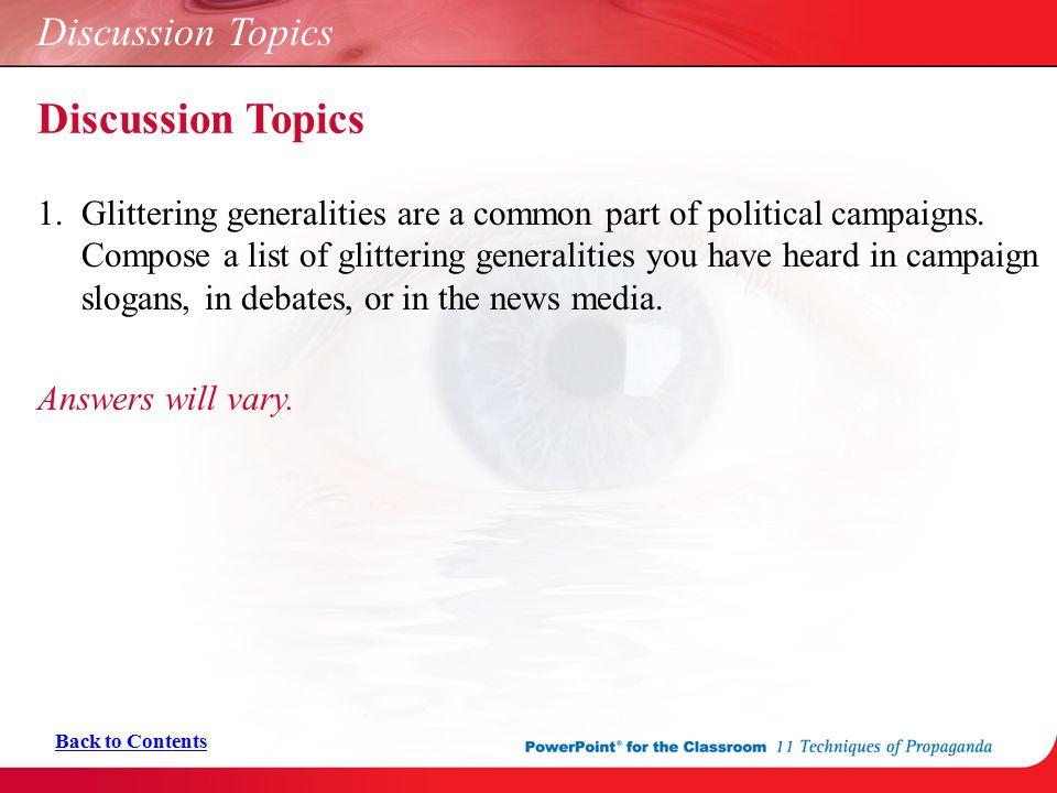 Discussion Topics Discussion Topics