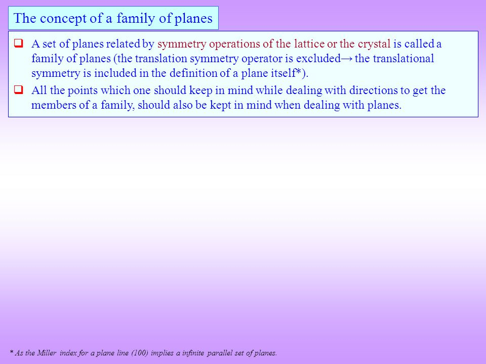 The concept of a family of planes