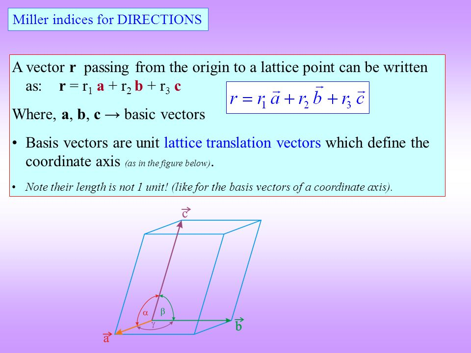 Where, a, b, c → basic vectors