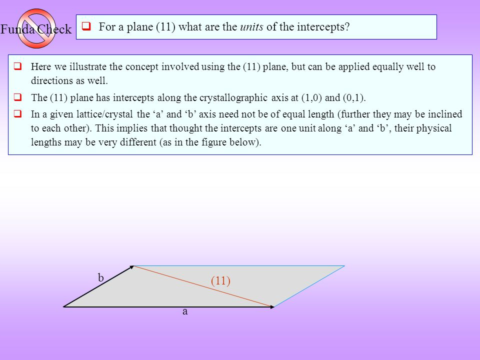 Funda Check For a plane (11) what are the units of the intercepts b