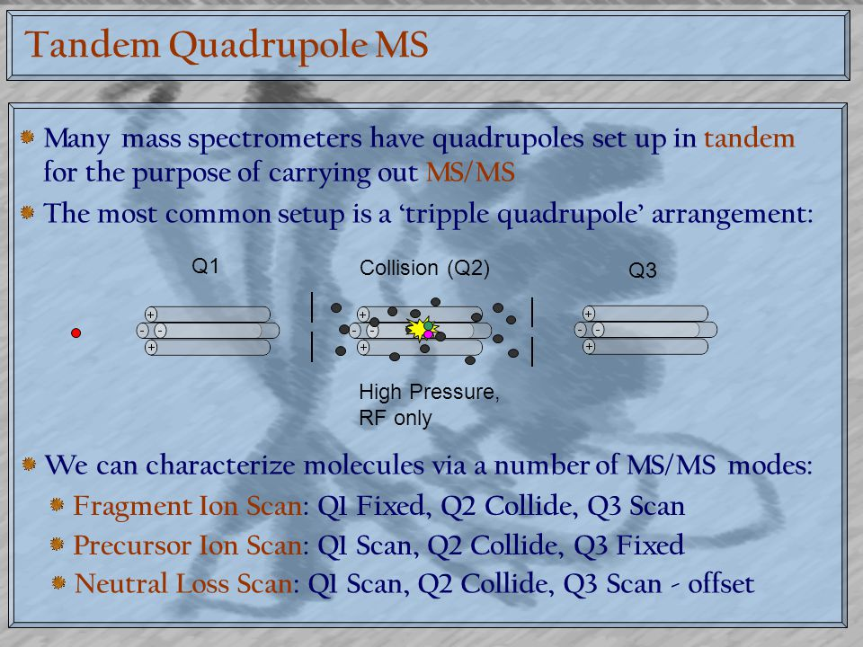 Tandem Quadrupole MS Many mass spectrometers have quadrupoles set up in tandem for the purpose of carrying out MS/MS.