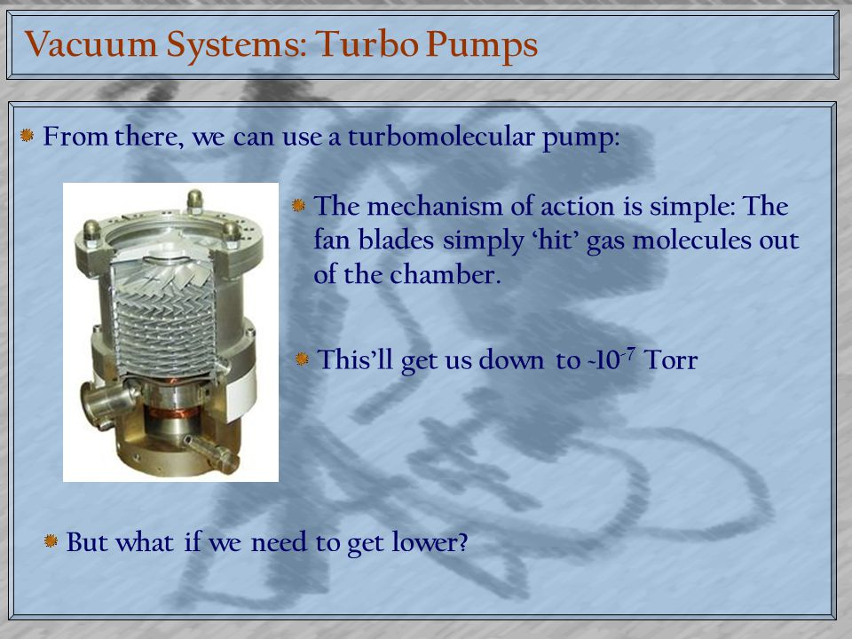 Vacuum Systems: Turbo Pumps