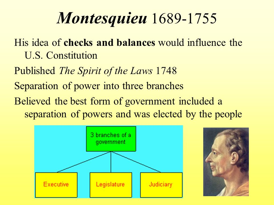 Montesquieu 1689-1755 His idea of checks and balances would influence the U.S. Constitution. Published The Spirit of the Laws 1748.