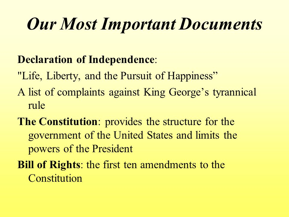 Our Most Important Documents
