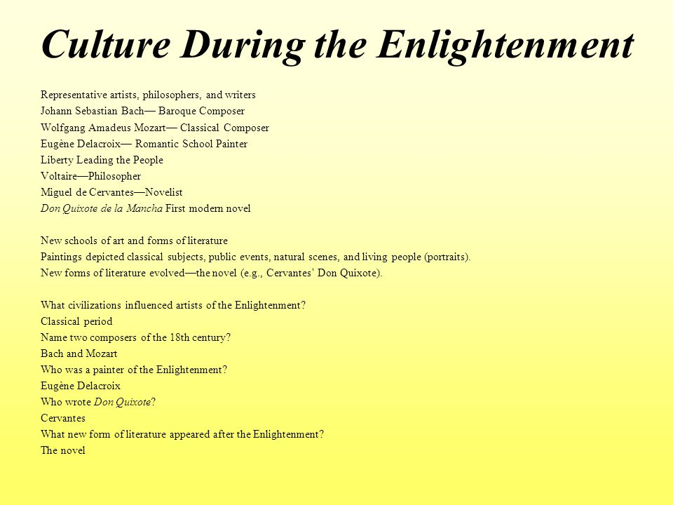 Culture During the Enlightenment