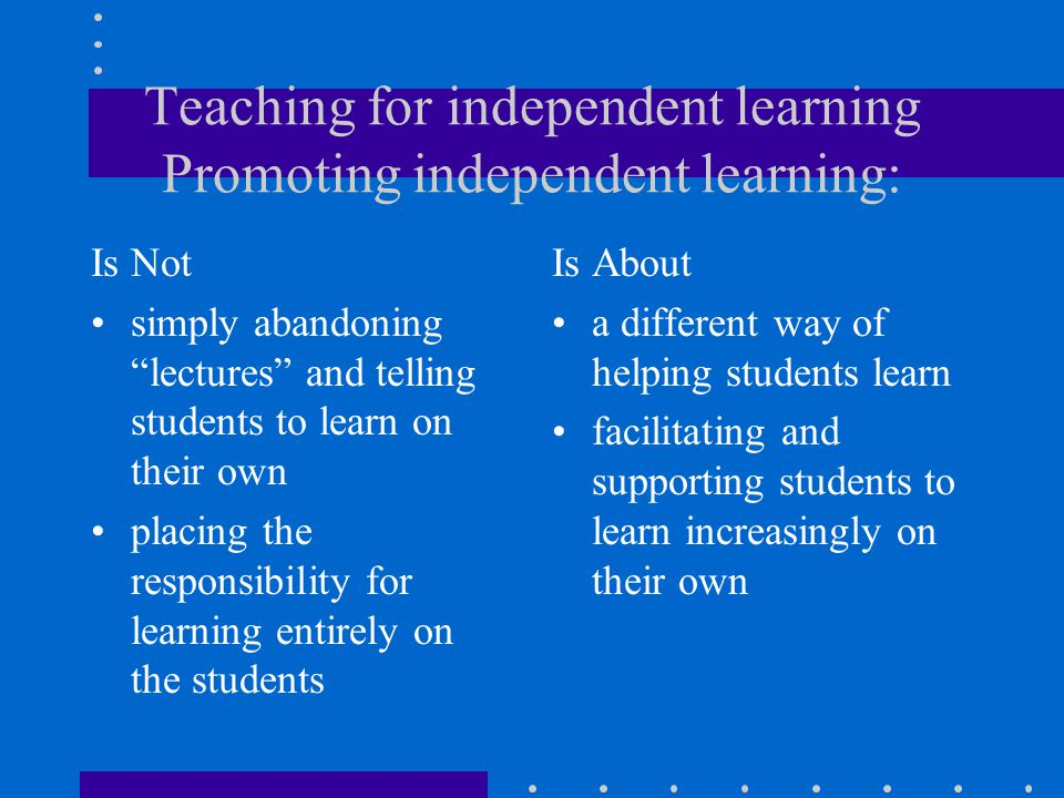 Teaching for independent learning Promoting independent learning: