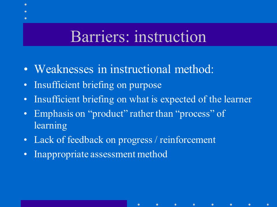 Barriers: instruction