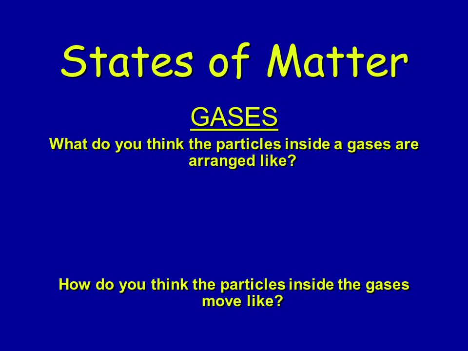 How do you think the particles inside the gases move like