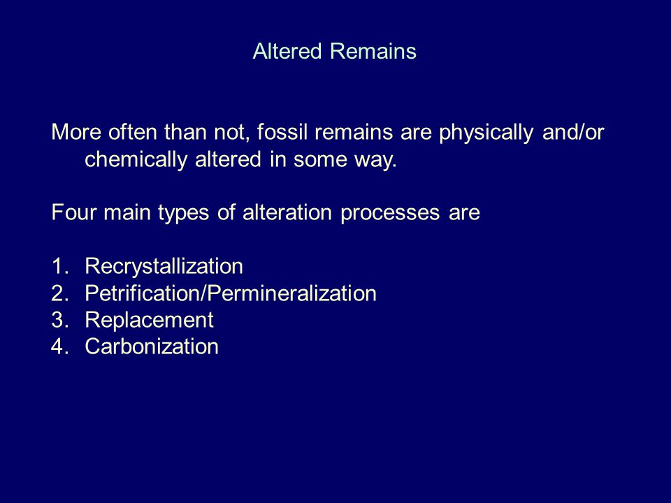 Altered Remains More often than not, fossil remains are physically and/or chemically altered in some way.