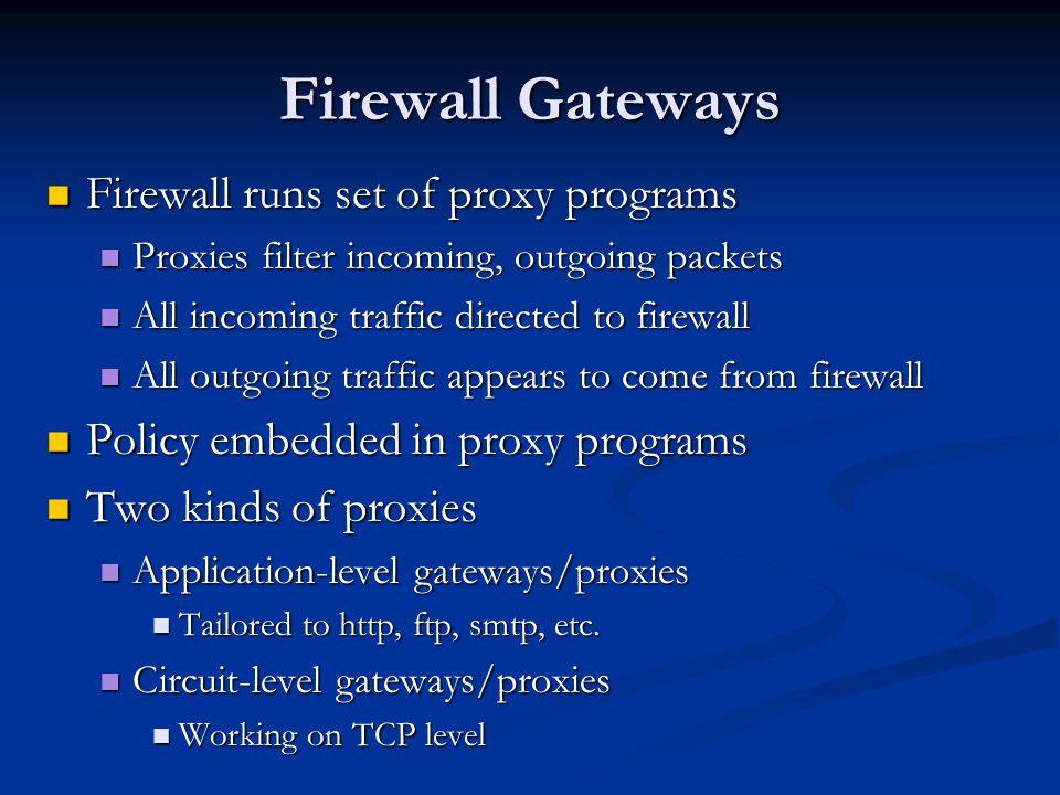 Firewall Gateways Firewall runs set of proxy programs