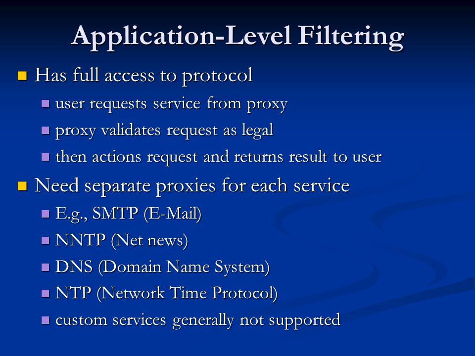 Application-Level Filtering