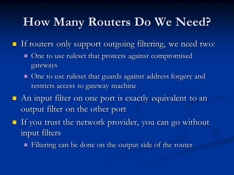 How Many Routers Do We Need