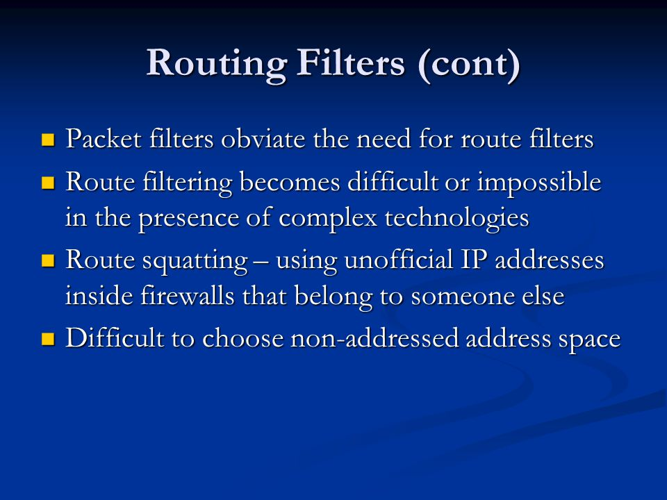 Routing Filters (cont)