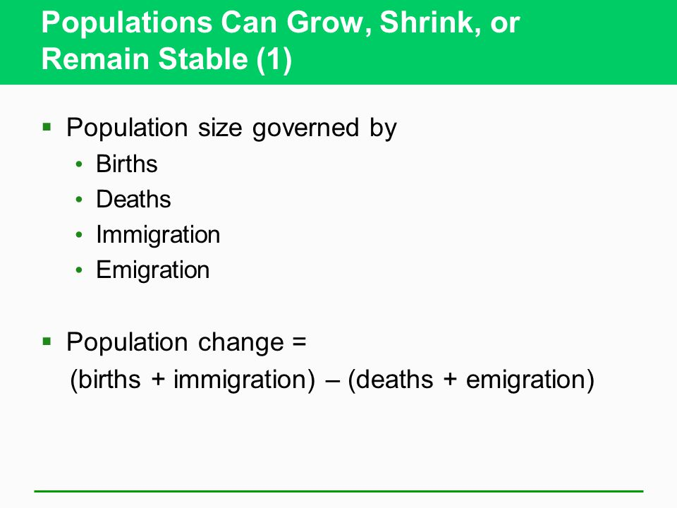 Populations Can Grow, Shrink, or Remain Stable (1)