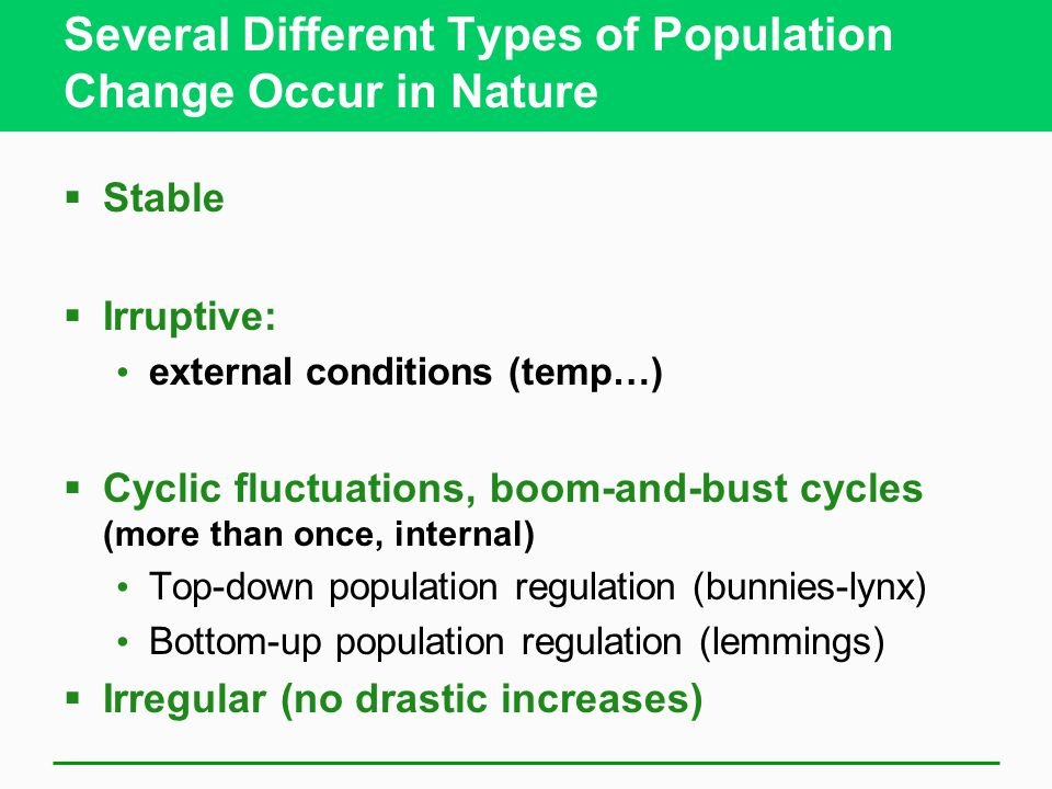 Several Different Types of Population Change Occur in Nature