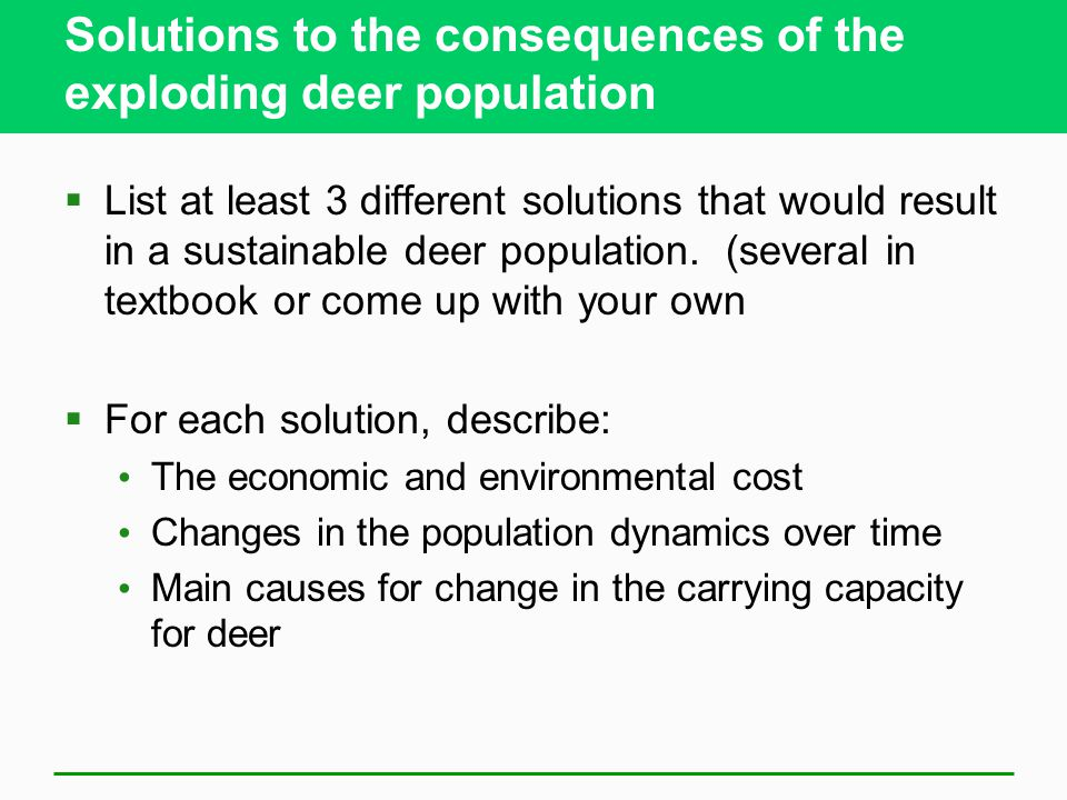 Solutions to the consequences of the exploding deer population