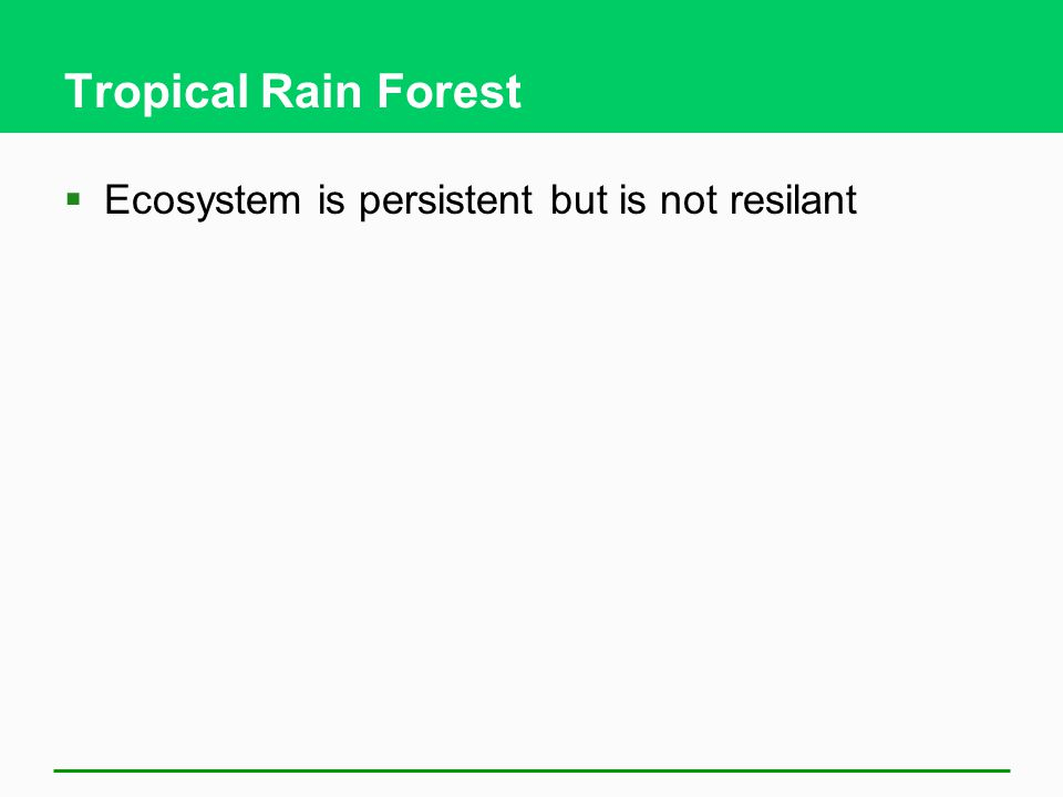 Tropical Rain Forest Ecosystem is persistent but is not resilant