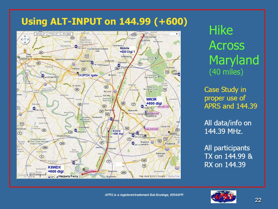 Hike Across Maryland Using ALT-INPUT on 144.99 (+600) (40 miles)