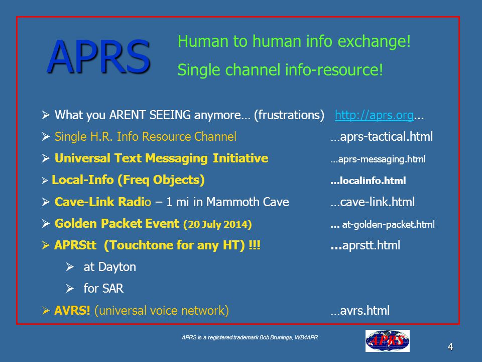 APRS Human to human info exchange! Single channel info-resource!